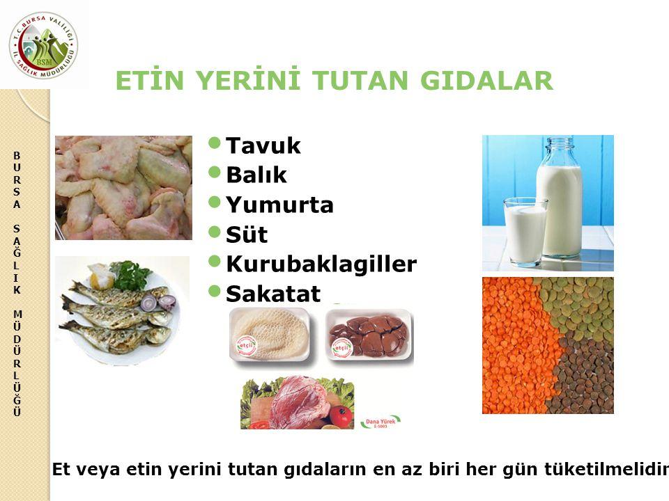BURSASAĞLIKMÜDÜRLÜĞÜBURSASAĞLIKMÜDÜRLÜĞÜ ETİN YERİNİ TUTAN GIDALAR Tavuk Balık Yumurta Süt Kurubaklagiller Sakatat Et veya etin yerini tutan gıdaların en az biri her gün tüketilmelidir