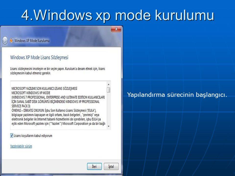 4.Windows xp mode kurulumu Yapılandırma sürecinin başlangıcı.