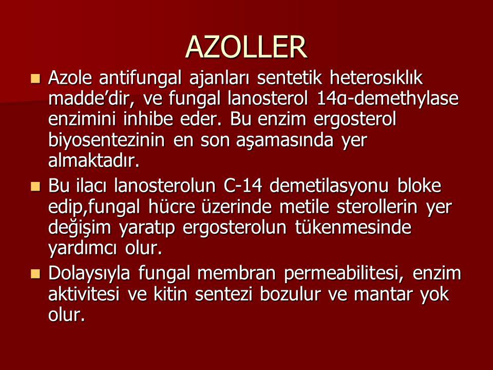 AZOLLER Azole antifungal ajanları sentetik heterosıklık madde'dir, ve fungal lanosterol 14α-demethylase enzimini inhibe eder. Bu enzim ergosterol biyo