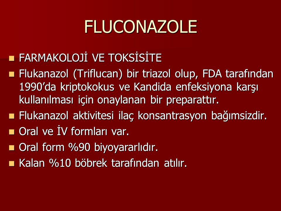 FLUCONAZOLE FARMAKOLOJİ VE TOKSİSİTE FARMAKOLOJİ VE TOKSİSİTE Flukanazol (Triflucan) bir triazol olup, FDA tarafından 1990'da kriptokokus ve Kandida enfeksiyona karşı kullanılması için onaylanan bir preparattır.