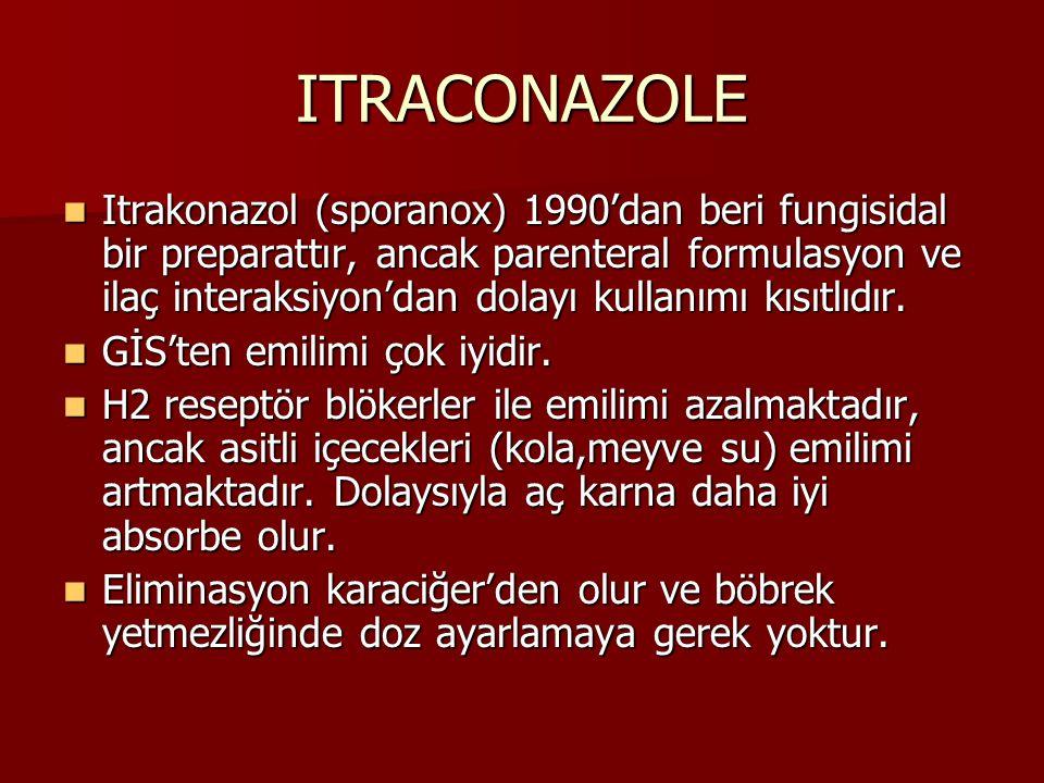 ITRACONAZOLE Itrakonazol (sporanox) 1990'dan beri fungisidal bir preparattır, ancak parenteral formulasyon ve ilaç interaksiyon'dan dolayı kullanımı kısıtlıdır.