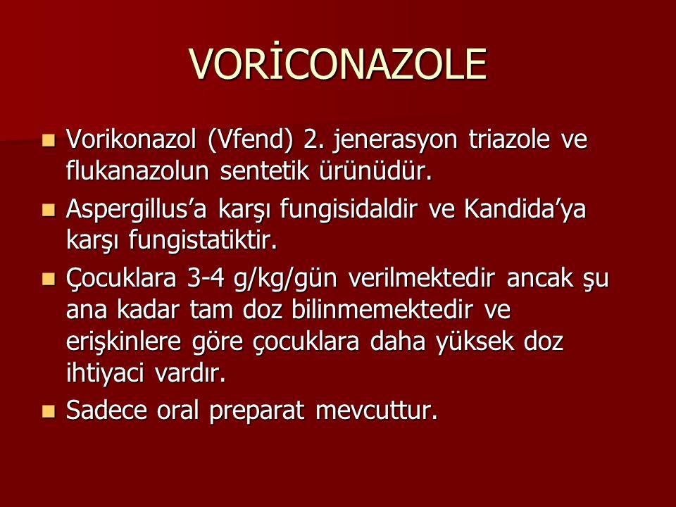 VORİCONAZOLE Vorikonazol (Vfend) 2.jenerasyon triazole ve flukanazolun sentetik ürünüdür.