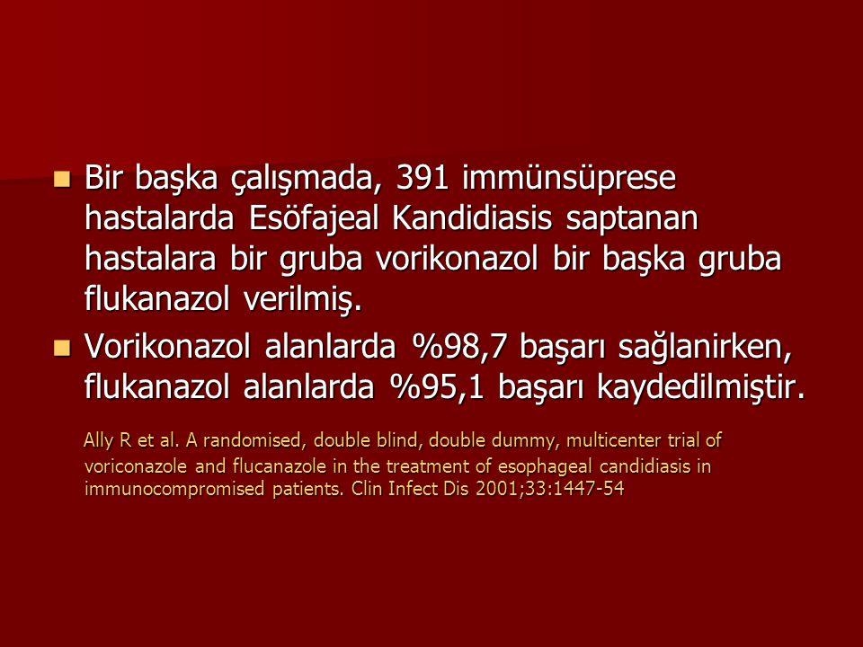 Bir başka çalışmada, 391 immünsüprese hastalarda Esöfajeal Kandidiasis saptanan hastalara bir gruba vorikonazol bir başka gruba flukanazol verilmiş.