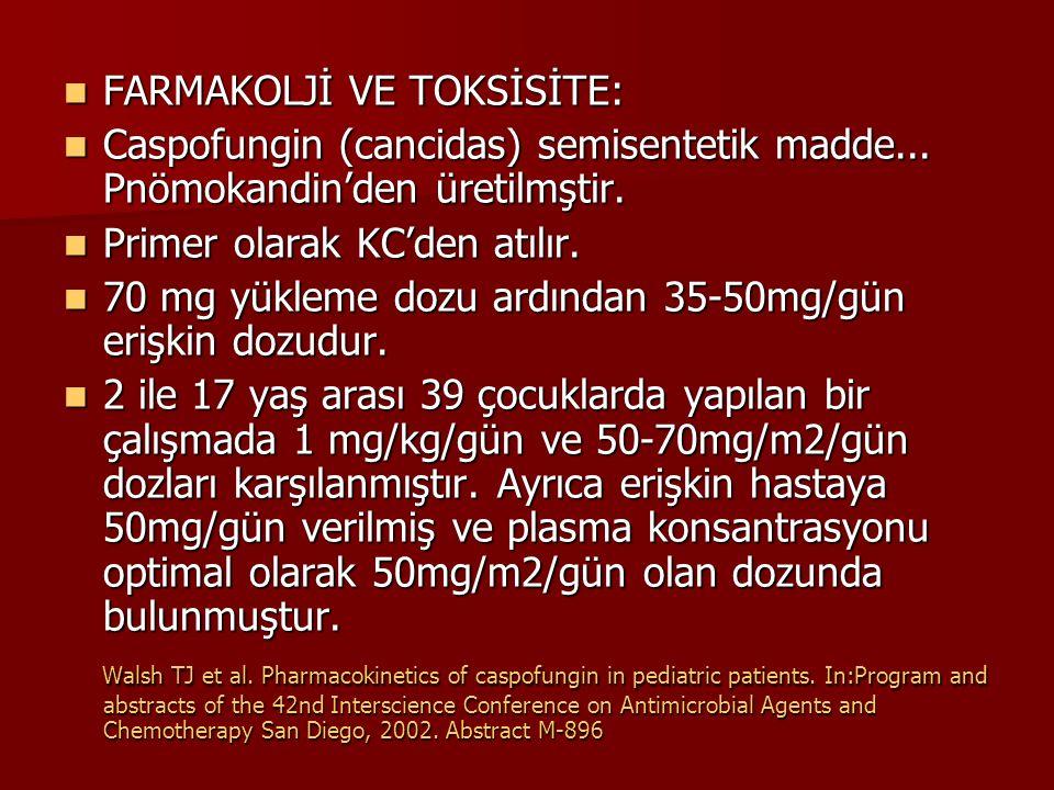 FARMAKOLJİ VE TOKSİSİTE: FARMAKOLJİ VE TOKSİSİTE: Caspofungin (cancidas) semisentetik madde...