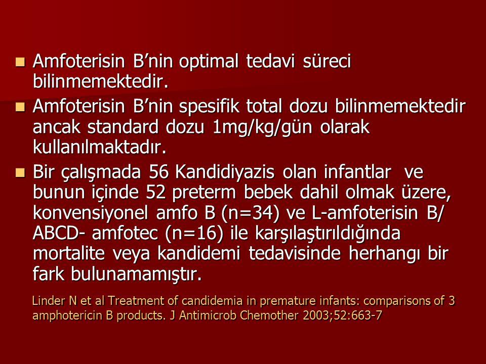 Amfoterisin B'nin optimal tedavi süreci bilinmemektedir. Amfoterisin B'nin optimal tedavi süreci bilinmemektedir. Amfoterisin B'nin spesifik total doz