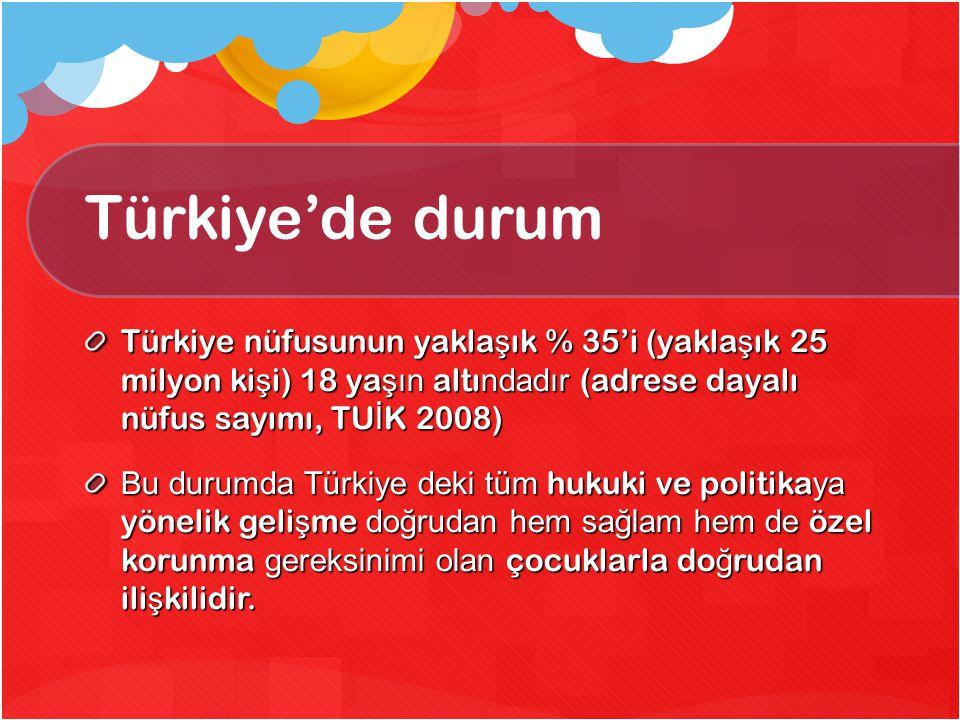 Türkiye'de durum Türkiye nüfusunun yakla ş ık % 35'i (yakla ş ık 25 milyon ki ş i) 18 ya şın altı ndadır (adrese dayalı nüfus sayımı, TU İ K 2008) Bu