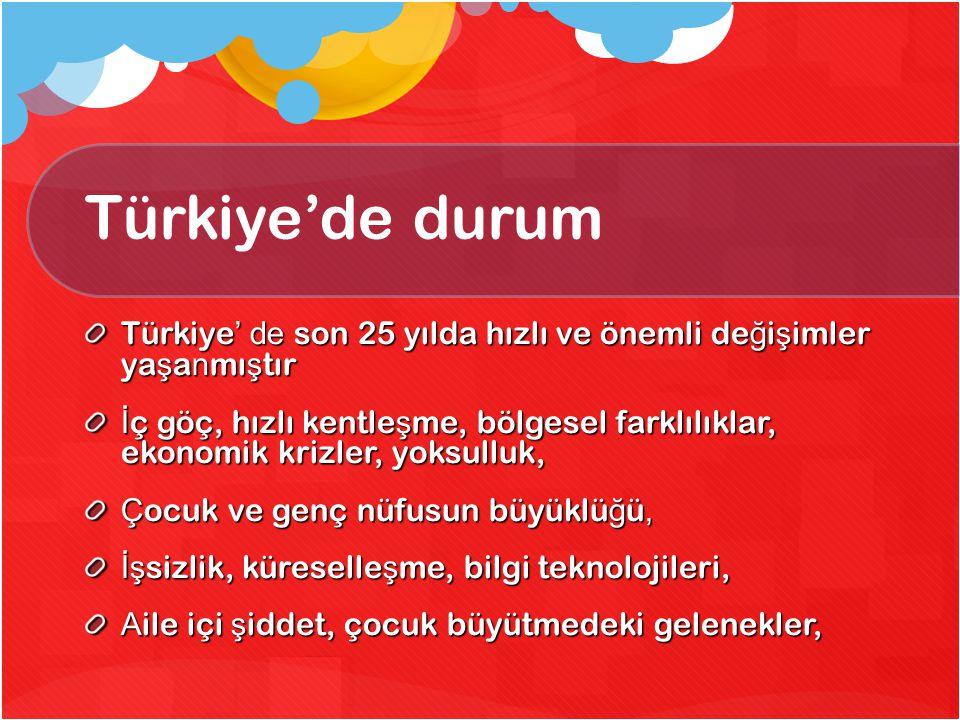 Türkiye'de durum Türkiye ' de son 25 yılda hızlı ve önemli de ğ i ş imler ya ş a n mı ş tır İ ç göç, hızlı kentle ş me, bölgesel farklılıklar, ekonomi
