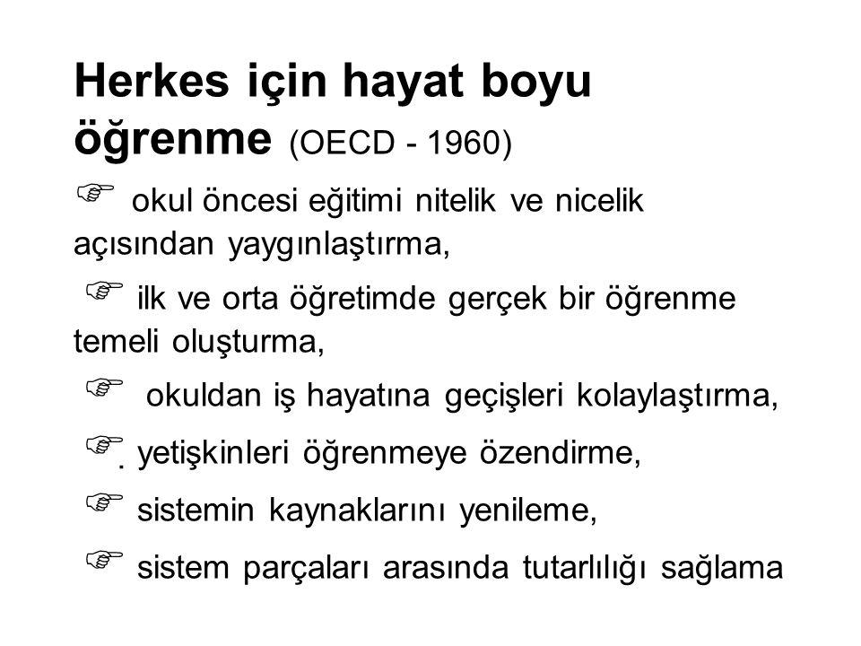 Herkes için hayat boyu öğrenme (OECD - 1960)  okul öncesi eğitimi nitelik ve nicelik açısından yaygınlaştırma,  ilk ve orta öğretimde gerçek bir öğr