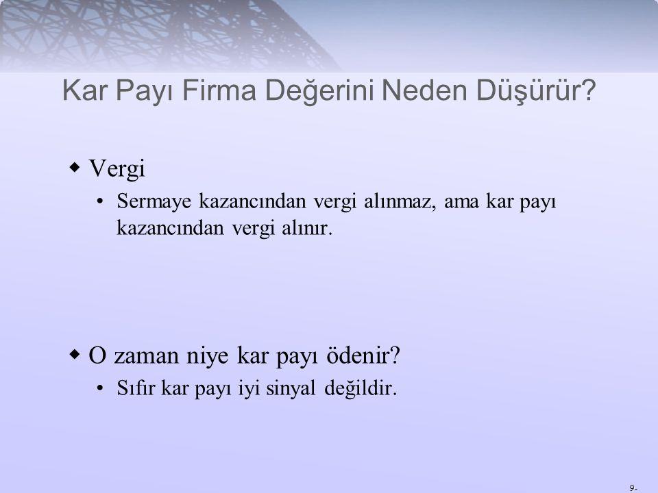 9-  Vergi Sermaye kazancından vergi alınmaz, ama kar payı kazancından vergi alınır.
