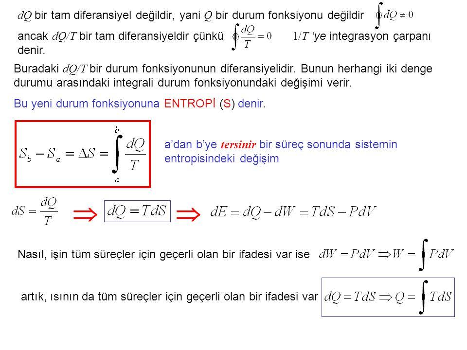 dQ bir tam diferansiyel değildir, yani Q bir durum fonksiyonu değildir ancak dQ/T bir tam diferansiyeldir çünkü 1/T 'ye integrasyon çarpanı denir.