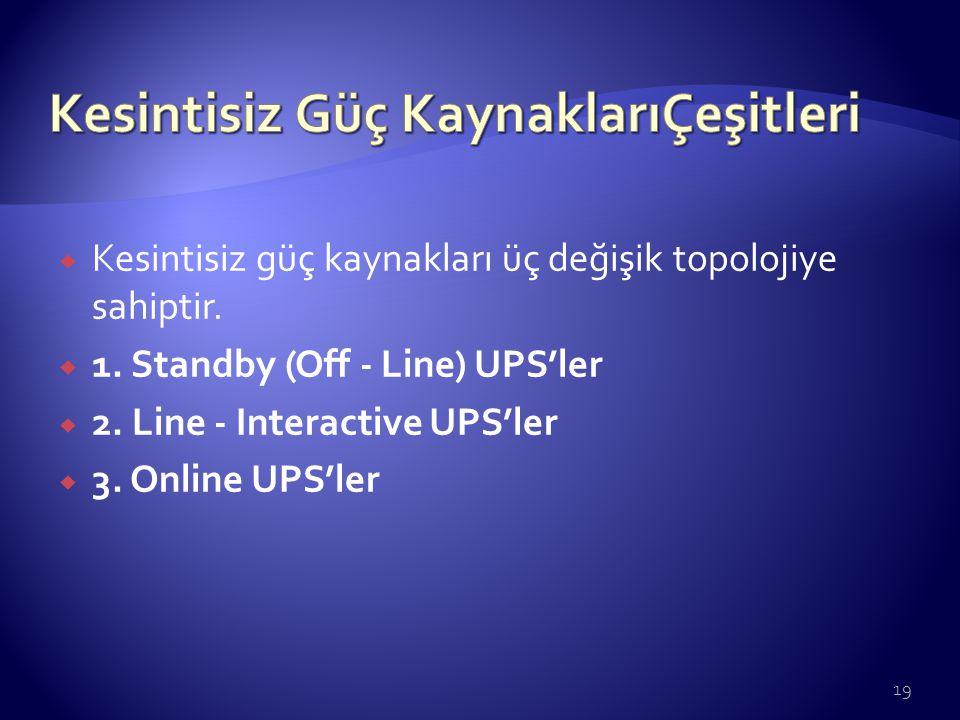  Kesintisiz güç kaynakları üç değişik topolojiye sahiptir.  1. Standby (Off - Line) UPS'ler  2. Line - Interactive UPS'ler  3. Online UPS'ler 19