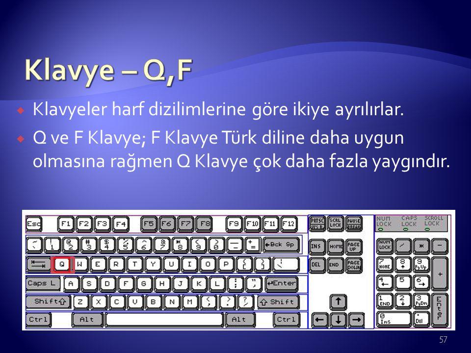  Klavyeler harf dizilimlerine göre ikiye ayrılırlar.  Q ve F Klavye; F Klavye Türk diline daha uygun olmasına rağmen Q Klavye çok daha fazla yaygınd