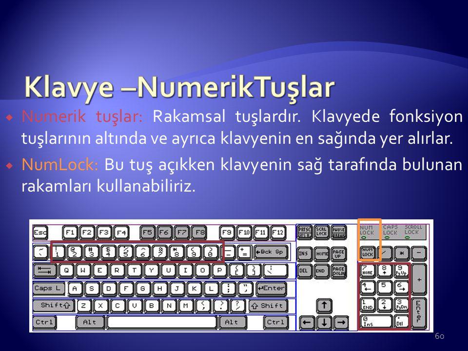  Numerik tuşlar: Rakamsal tuşlardır. Klavyede fonksiyon tuşlarının altında ve ayrıca klavyenin en sağında yer alırlar.  NumLock: Bu tuş açıkken klav