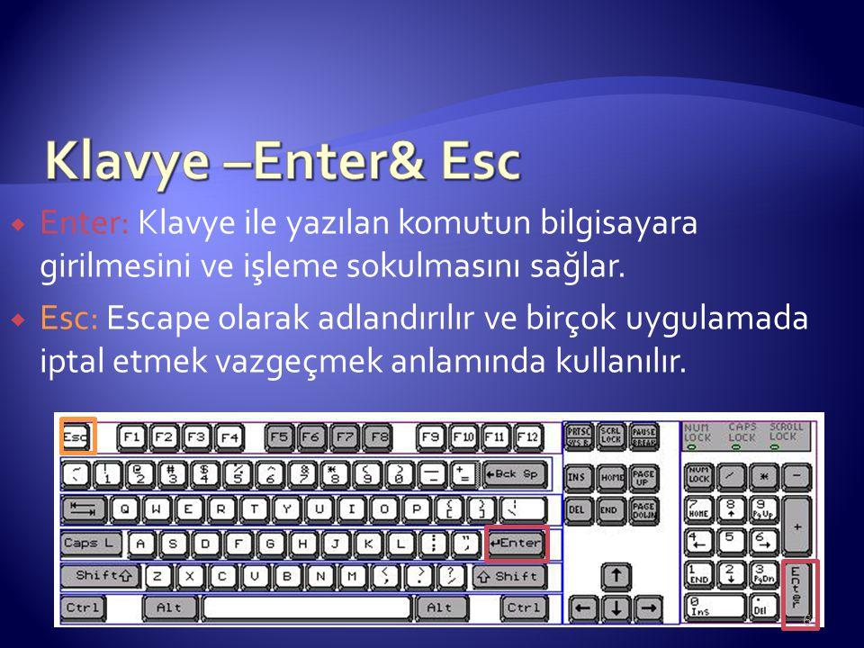 Enter: Klavye ile yazılan komutun bilgisayara girilmesini ve işleme sokulmasını sağlar.  Esc: Escape olarak adlandırılır ve birçok uygulamada iptal