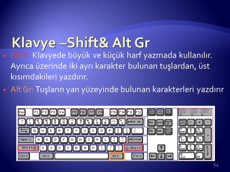  Shift: Klavyede büyük ve küçük harf yazmada kullanılır. Ayrıca üzerinde iki ayrı karakter bulunan tuşlardan, üst kısımdakileri yazdırır.  Alt Gr: T