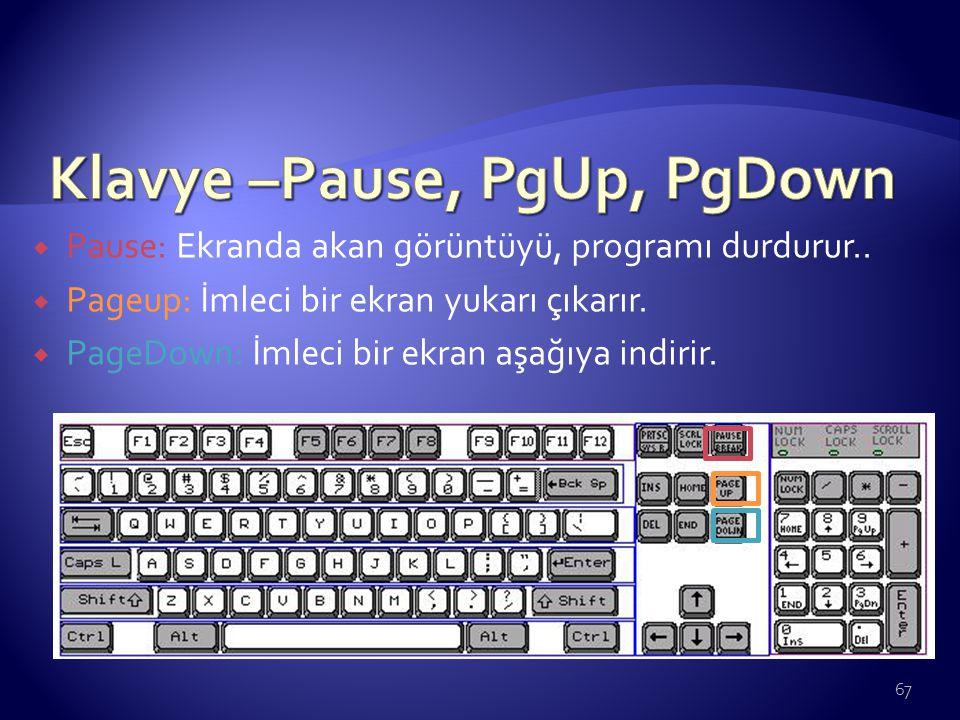  Pause: Ekranda akan görüntüyü, programı durdurur..  Pageup: İmleci bir ekran yukarı çıkarır.  PageDown: İmleci bir ekran aşağıya indirir. 67