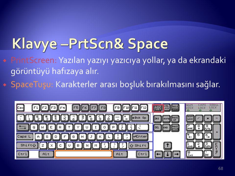  PrintScreen: Yazılan yazıyı yazıcıya yollar, ya da ekrandaki görüntüyü hafızaya alır.  SpaceTuşu: Karakterler arası boşluk bırakılmasını sağlar. 68