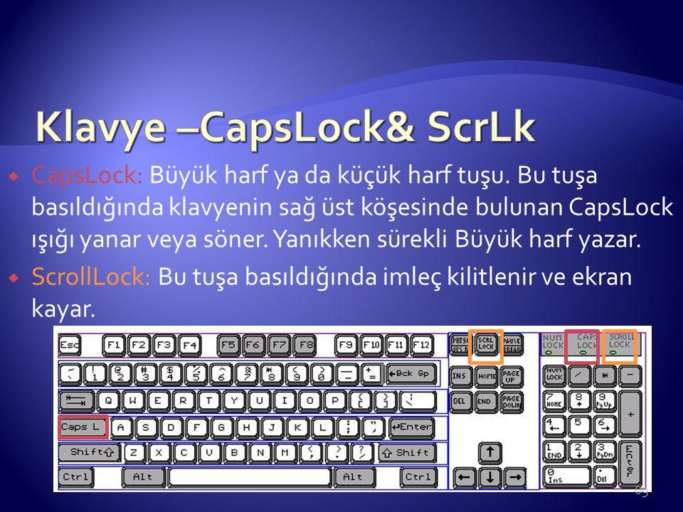  CapsLock: Büyük harf ya da küçük harf tuşu. Bu tuşa basıldığında klavyenin sağ üst köşesinde bulunan CapsLock ışığı yanar veya söner. Yanıkken sürek