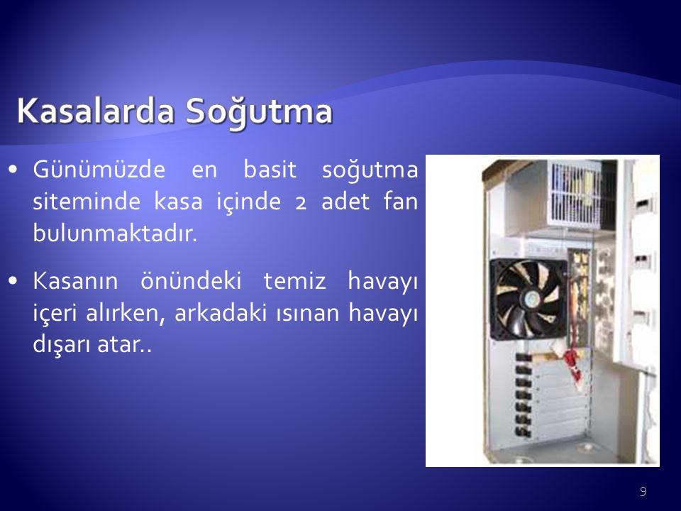 9 Günümüzde en basit soğutma siteminde kasa içinde 2 adet fan bulunmaktadır. Kasanın önündeki temiz havayı içeri alırken, arkadaki ısınan havayı dışar