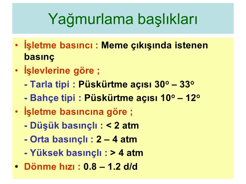 Yağmurlama başlıkları İşletme basıncı : Meme çıkışında istenen basınç İşlevlerine göre ; - Tarla tipi : Püskürtme açısı 30 o – 33 o - Bahçe tipi : Püskürtme açısı 10 o – 12 o İşletme basıncına göre ; - Düşük basınçlı : < 2 atm - Orta basınçlı : 2 – 4 atm - Yüksek basınçlı : > 4 atm Dönme hızı : 0.8 – 1.2 d/d