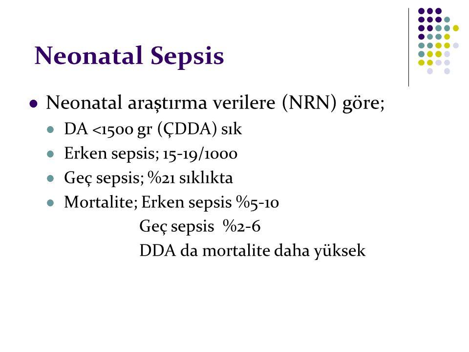Neonatal Sepsis Neonatal araştırma verilere (NRN) göre; DA <1500 gr (ÇDDA) sık Erken sepsis; 15-19/1000 Geç sepsis; %21 sıklıkta Mortalite; Erken seps