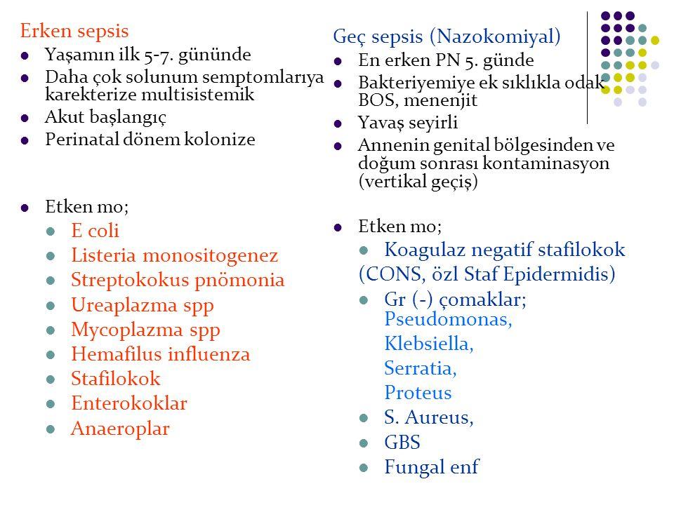 Erken sepsis Yaşamın ilk 5-7. gününde Daha çok solunum semptomlarıya karekterize multisistemik Akut başlangıç Perinatal dönem kolonize Etken mo; E col