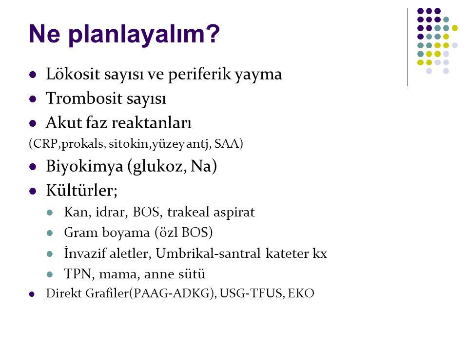 Ne planlayalım? Lökosit sayısı ve periferik yayma Trombosit sayısı Akut faz reaktanları (CRP,prokals, sitokin,yüzey antj, SAA) Biyokimya (glukoz, Na)