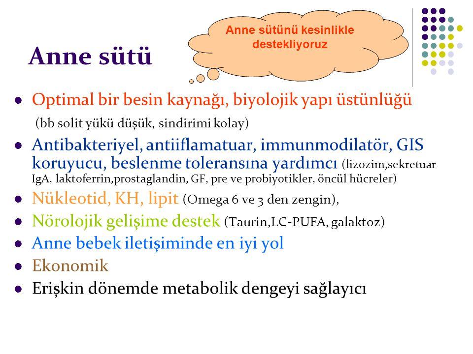 Anne sütü Optimal bir besin kaynağı, biyolojik yapı üstünlüğü (bb solit yükü düşük, sindirimi kolay) Antibakteriyel, antiiflamatuar, immunmodilatör, G