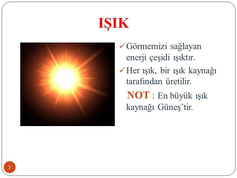 IŞIK Görmemizi sağlayan enerji çeşidi ışıktır. Her ışık, bir ışık kaynağı tarafından üretilir. NOT : En büyük ışık kaynağı Güneş'tir. 2