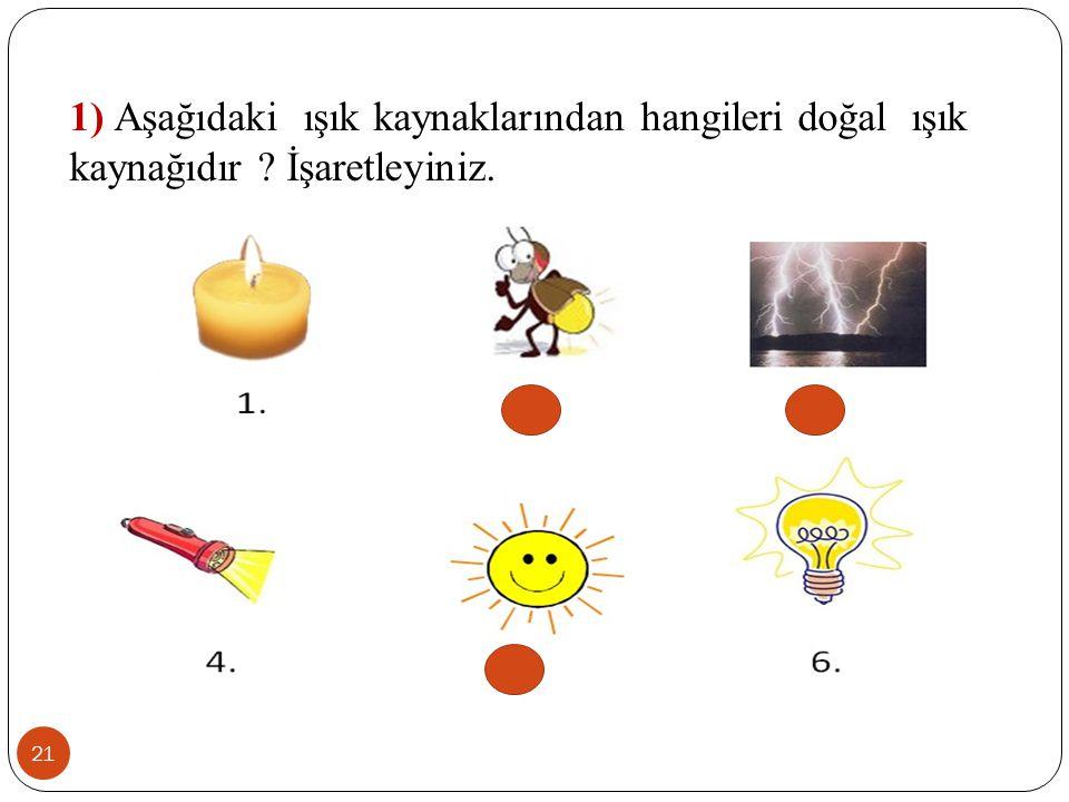 1) Aşağıdaki ışık kaynaklarından hangileri doğal ışık kaynağıdır ? İşaretleyiniz. 21