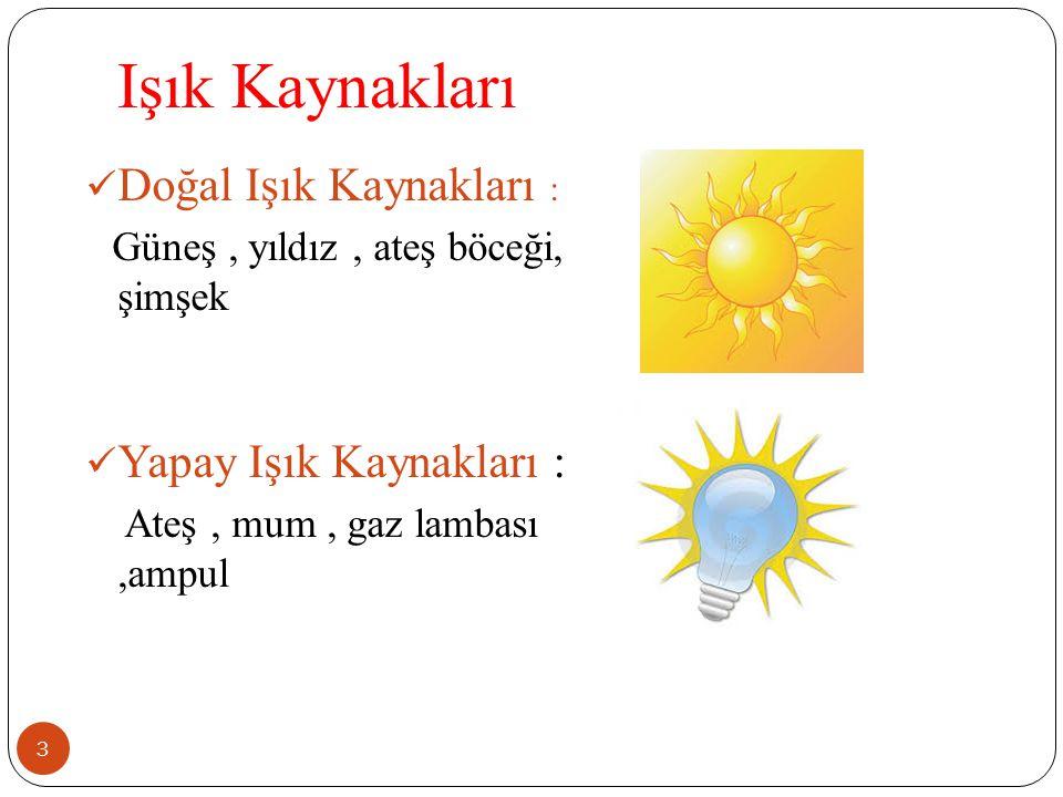 Işık Kaynakları 3 Doğal Işık Kaynakları : Güneş, yıldız, ateş böceği, şimşek Yapay Işık Kaynakları : Ateş, mum, gaz lambası,ampul