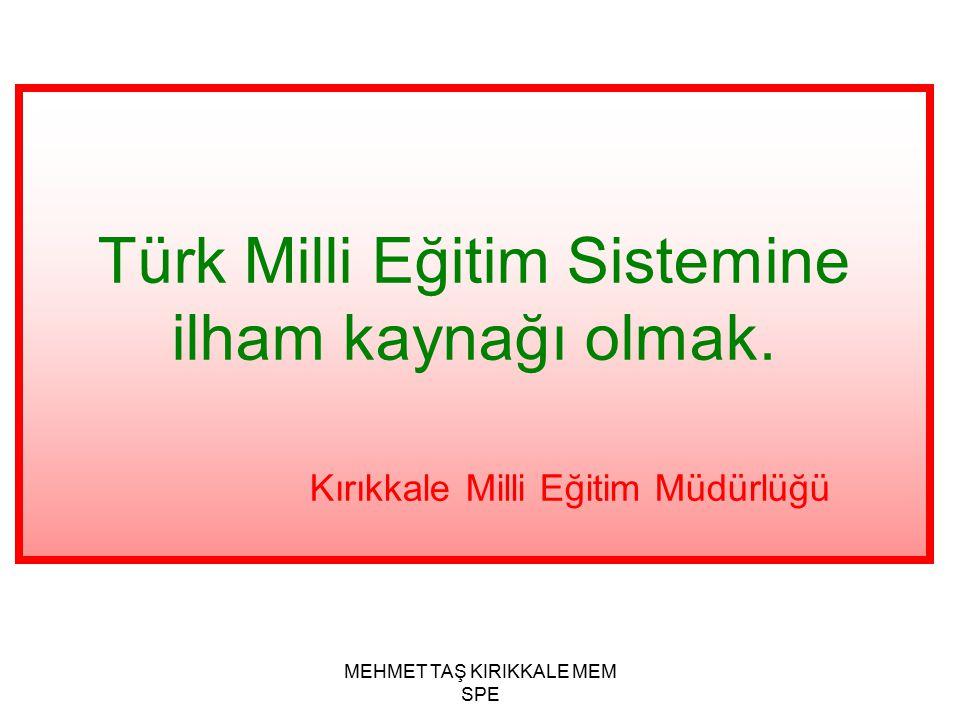 MEHMET TAŞ KIRIKKALE MEM SPE Kırıkkale Milli Eğitim Müdürlüğünün vizyonu nedir?