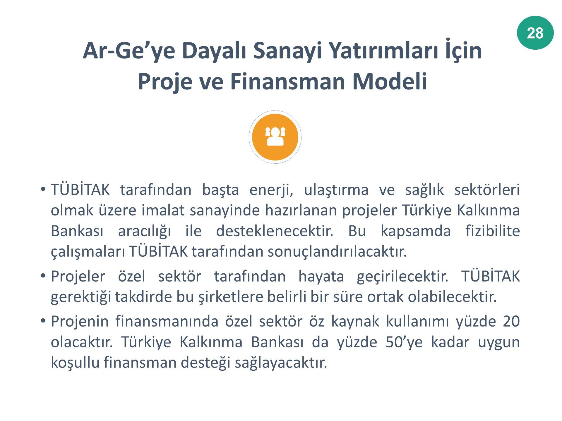 28 TÜBİTAK tarafından başta enerji, ulaştırma ve sağlık sektörleri olmak üzere imalat sanayinde hazırlanan projeler Türkiye Kalkınma Bankası aracılığı ile desteklenecektir.