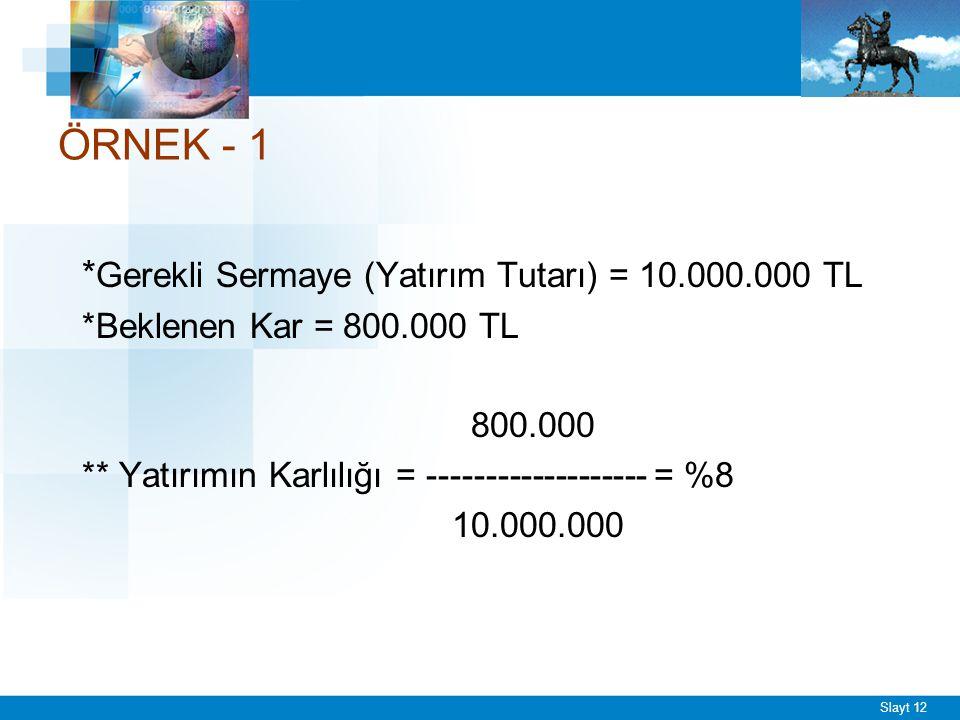 Slayt 12 ÖRNEK - 1 * Gerekli Sermaye (Yatırım Tutarı) = 10.000.000 TL *Beklenen Kar = 800.000 TL 800.000 ** Yatırımın Karlılığı = -------------------