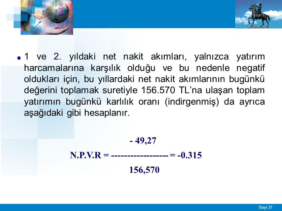 Slayt 37 ■ 1 ve 2. yıldaki net nakit akımları, yalnızca yatırım harcamalarına karşılık olduğu ve bu nedenle negatif oldukları için, bu yıllardaki net