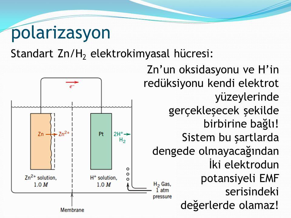 polarizasyon Zn'un oksidasyonu ve H'in redüksiyonu kendi elektrot yüzeylerinde gerçekleşecek şekilde birbirine bağlı! Sistem bu şartlarda dengede olma