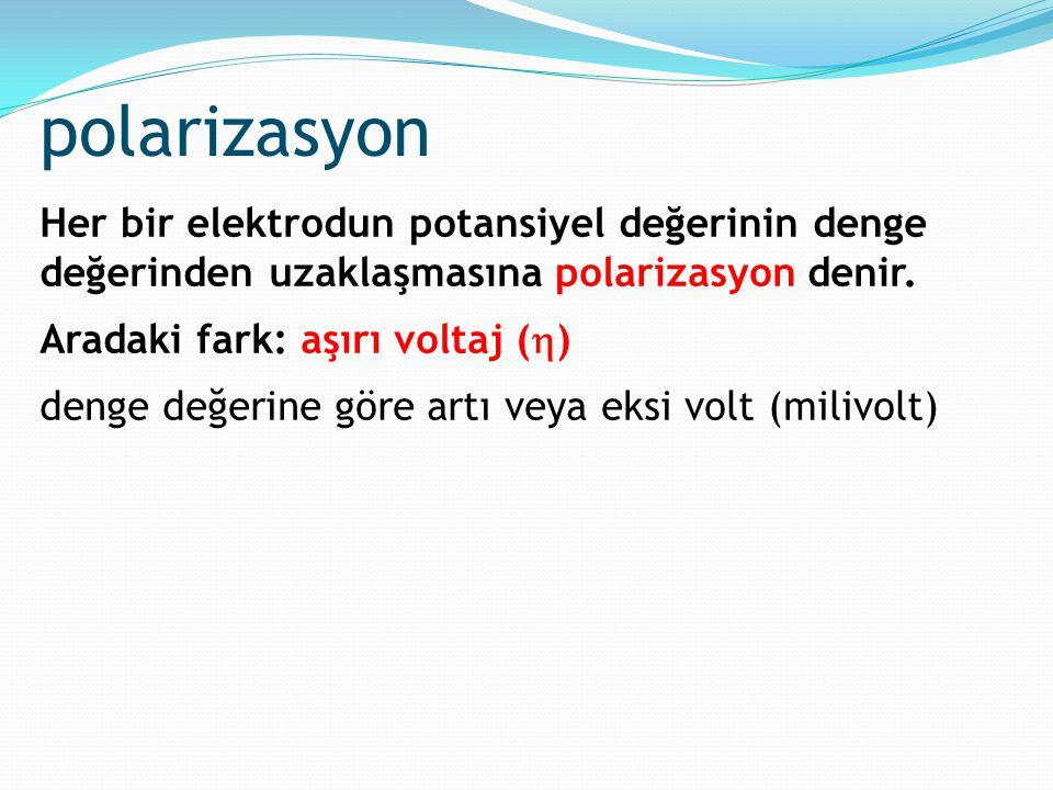 polarizasyon Her bir elektrodun potansiyel değerinin denge değerinden uzaklaşmasına polarizasyon denir. Aradaki fark: aşırı voltaj (  ) denge değerin