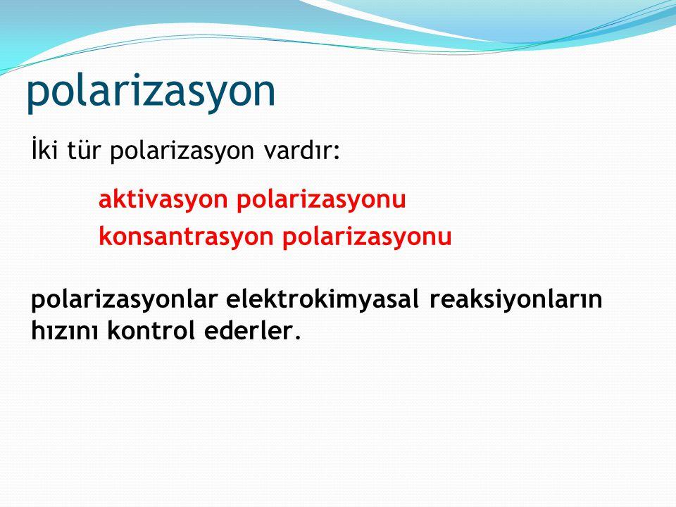 polarizasyon İki tür polarizasyon vardır: aktivasyon polarizasyonu konsantrasyon polarizasyonu polarizasyonlar elektrokimyasal reaksiyonların hızını k