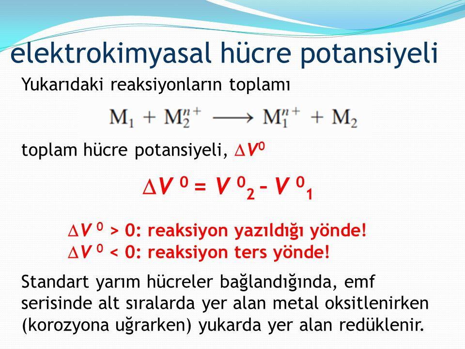 Yukarıdaki reaksiyonların toplamı toplam hücre potansiyeli,  V 0  V 0 = V 0 2 – V 0 1  V 0 > 0: reaksiyon yazıldığı yönde!  V 0 < 0: reaksiyon ter