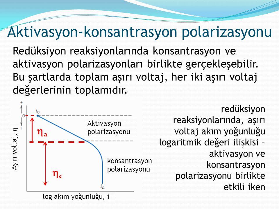 Redüksiyon reaksiyonlarında konsantrasyon ve aktivasyon polarizasyonları birlikte gerçekleşebilir. Bu şartlarda toplam aşırı voltaj, her iki aşırı vol
