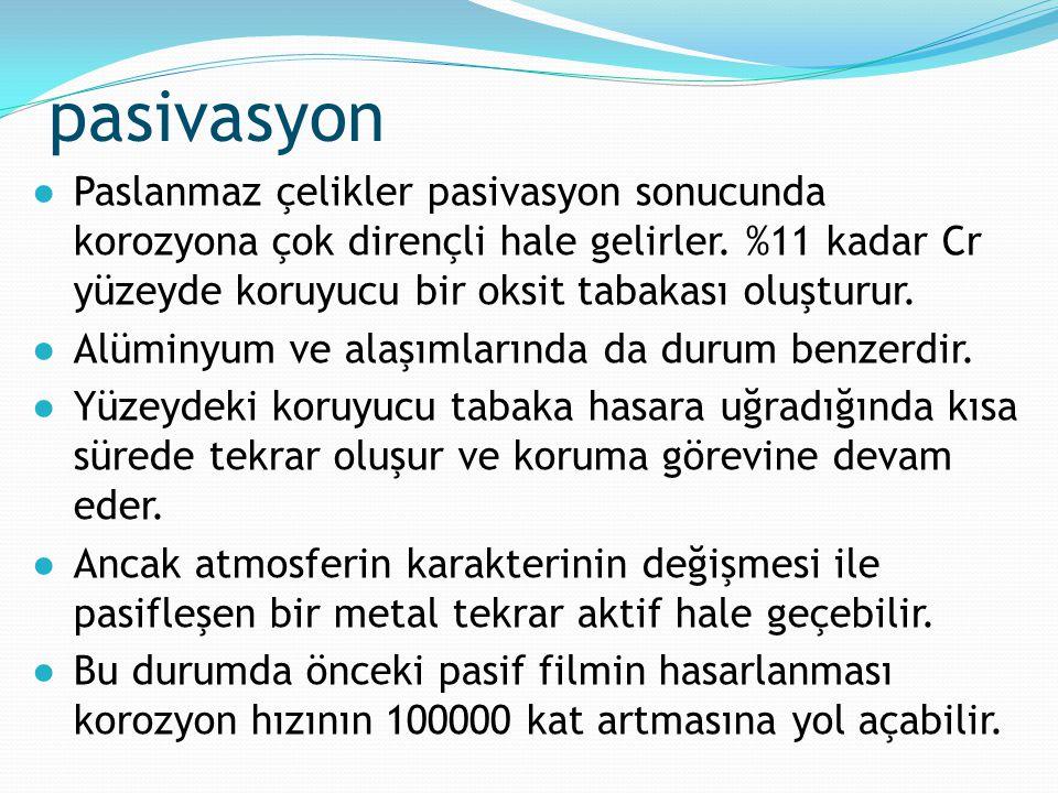 pasivasyon ●Paslanmaz çelikler pasivasyon sonucunda korozyona çok dirençli hale gelirler. %11 kadar Cr yüzeyde koruyucu bir oksit tabakası oluşturur.