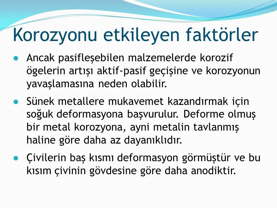 ●Ancak pasifleşebilen malzemelerde korozif ögelerin artışı aktif-pasif geçişine ve korozyonun yavaşlamasına neden olabilir. ●Sünek metallere mukavemet