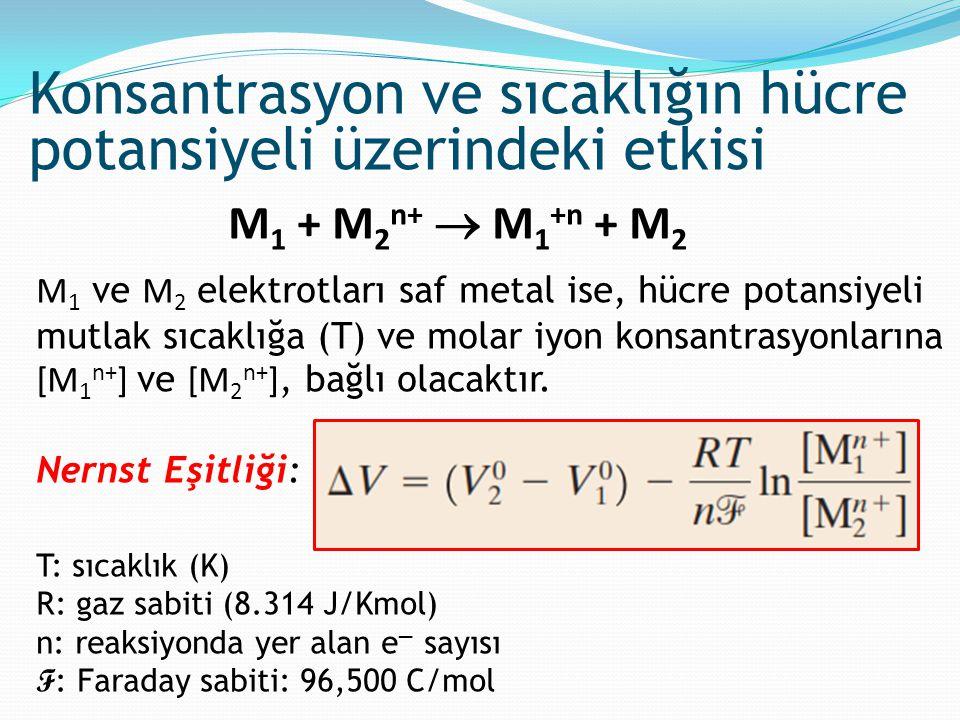 M 1 + M 2 n+  M 1 +n + M 2 M 1 ve M 2 elektrotları saf metal ise, hücre potansiyeli mutlak sıcaklığa (T) ve molar iyon konsantrasyonlarına [M 1 n+ ]