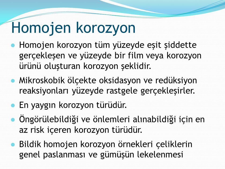 Homojen korozyon ●Homojen korozyon tüm yüzeyde eşit şiddette gerçekleşen ve yüzeyde bir film veya korozyon ürünü oluşturan korozyon şeklidir. ●Mikrosk