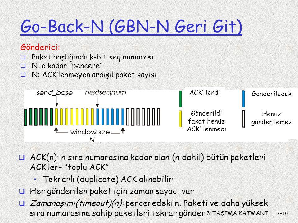 3:TAŞIMA KATMANI3-10 Go-Back-N (GBN-N Geri Git) Gönderici:  Paket başlığında k-bit seq numarası  N' e kadar pencere  N: ACK'lenmeyen ardışıl paket sayısı  ACK(n): n sıra numarasına kadar olan (n dahil) bütün paketleri ACK'ler- toplu ACK Tekrarlı (duplicate) ACK alınabilir  Her gönderilen paket için zaman sayacı var  Zamanaşımı(timeout)(n): penceredeki n.