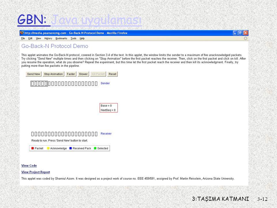 3:TAŞIMA KATMANI3-12 GBN: Java uygulamasıJava uygulaması