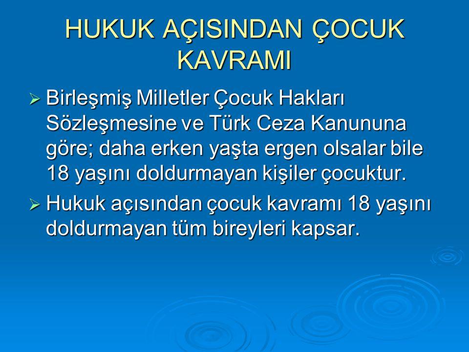 HUKUK AÇISINDAN ÇOCUK KAVRAMI  Birleşmiş Milletler Çocuk Hakları Sözleşmesine ve Türk Ceza Kanununa göre; daha erken yaşta ergen olsalar bile 18 yaşı