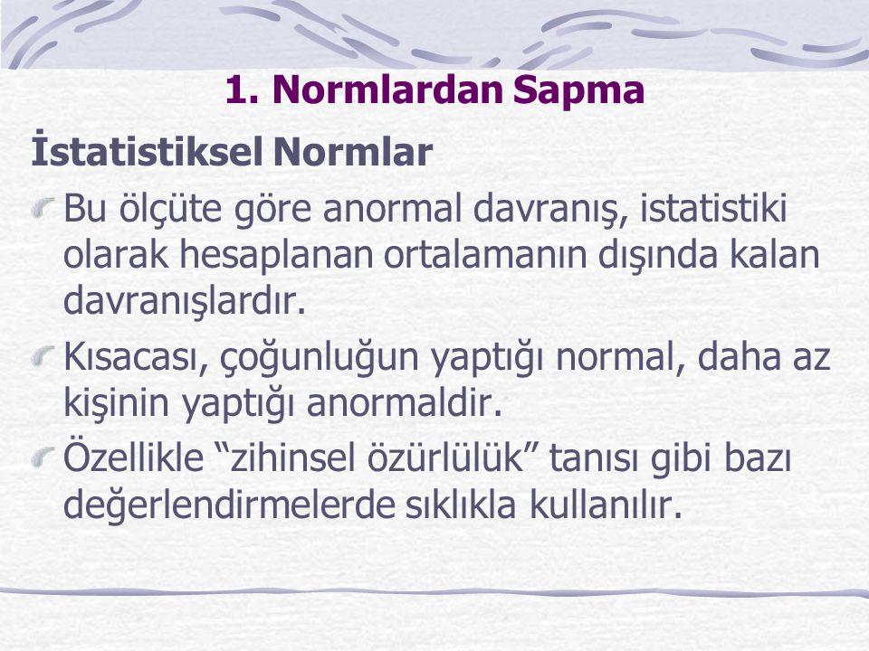 İstatistiki normların pek çok kısıtlılığı da var.i)Normal dışı davranışın tanımını basitleştirir.