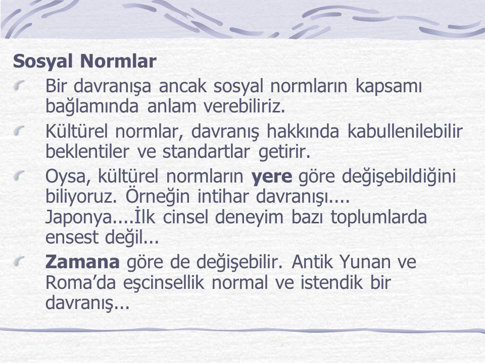 Kültürel normlar, durumsal standartlara da dayanabilir.