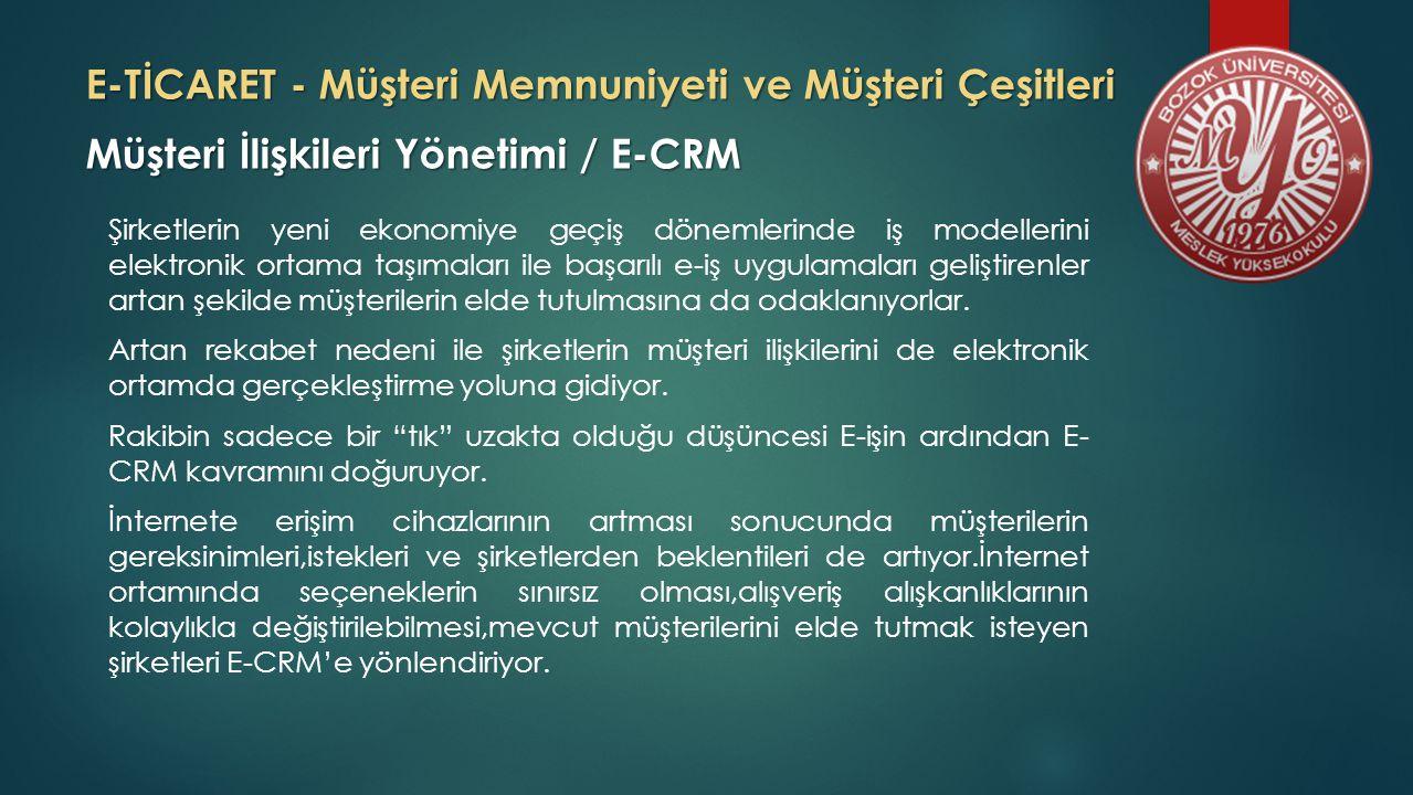 E-TİCARET - Müşteri Memnuniyeti ve Müşteri Çeşitleri Müşteri Çeşitleri E-ticaret müşterilerini temel olarak 5 ana başlık altında toplayabiliriz.